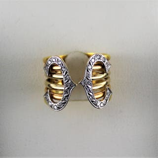 ANILLO ORO TRICOLOR DE 18 K BRILLANTES