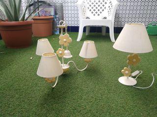 lámparas de forja y madera
