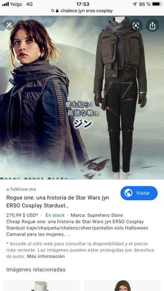 Chaleco cosplay Jyn erso rogué One Star Wars