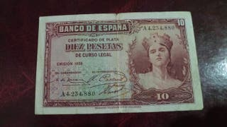 Billete 10 pesetas año 1935 clase A