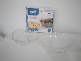 Set 2 fuentes de cristal para horno y microondas