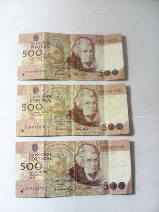 billetes 500 escudos banco portugal lote