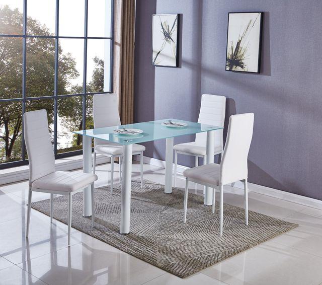 Mesa de cristal para comedor con 6 sillas de piel de segunda ...