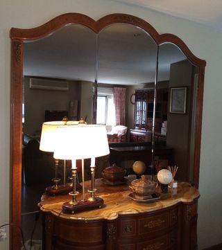 Espejo de Marquetería de madera de raíz de Nogal