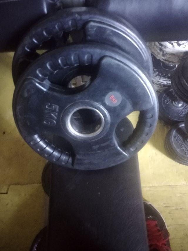 2x5kg olímpicos de caucho con agarres