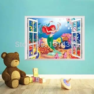 Vinilo decorativo sticker pared Ariel sirenita