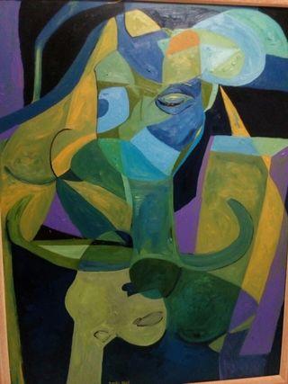 madre azul.cuadro al óleo , estilo Picasso