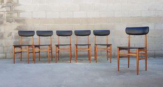 Set de 6 sillas estilo Nordico. Vintage, 70s.