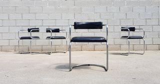 Set de 4 sillas SPACE AGE. Vintage, 70s.