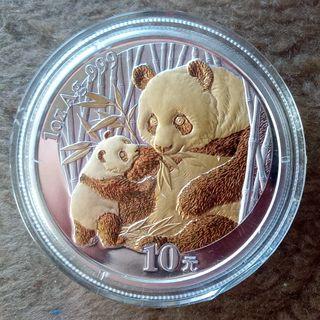 Moneda Plata China 1 Onza 2005 Dorada