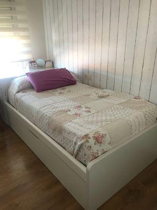 Dormitorio Juvenil 2 camas blanco. Impecable