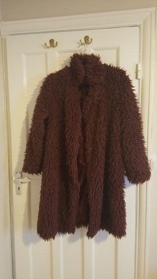 Purple faux fur long coat M
