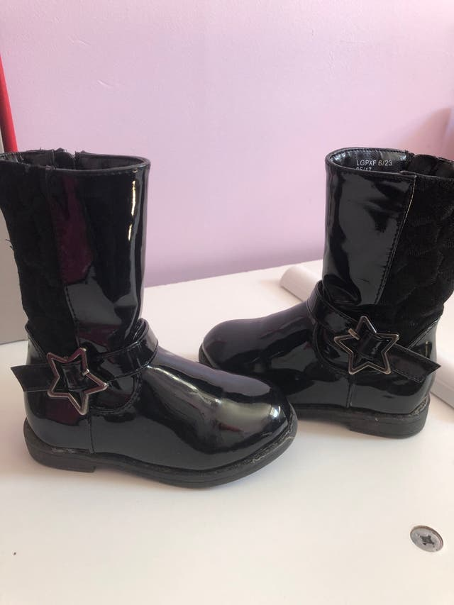 Girls patent black leather boots infant size 6