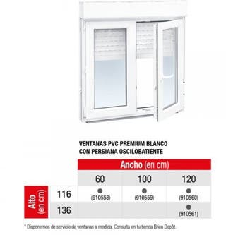 3 Ventanas PREMIUM 116X120alto, ahorro energ 55%84