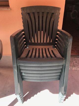 Conjunto mesa y 6 sillas jardín