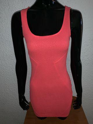 Vestido Rosa Coral Bershka Talla Xs De Segunda Mano Por 4