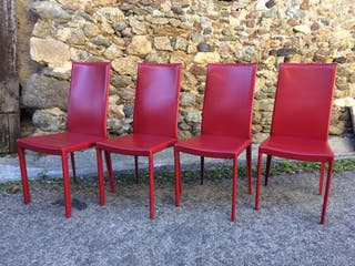 Sillas diseño Roche et Bobois cuero rojo