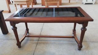 Mesa centro madera cristal