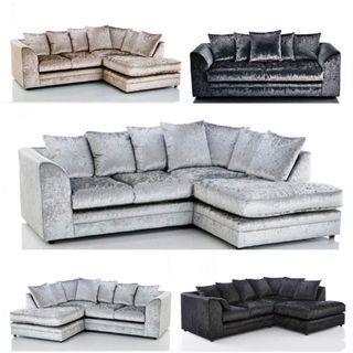 Crushed Velvet Brand New Packed sofas