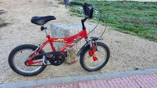 bicicleta bmx Rayo mcqueen 16 pulgadas niños