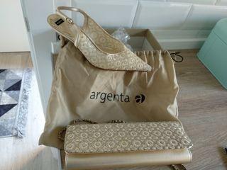 conjunto zapatos y bolso argenta