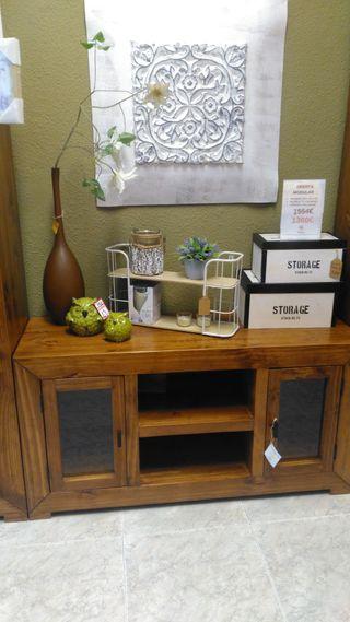 Mueble tv rustico mejicano madera
