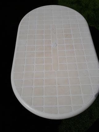 Mesa blanca plástico / resina jardín o camping