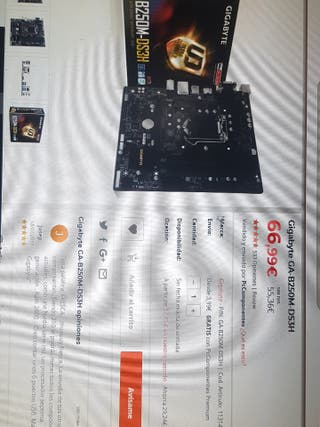 Procesador y Placa base - Intel Gigabyte