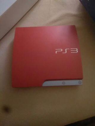 ps3 con dos mandos rojos y 9 juegos