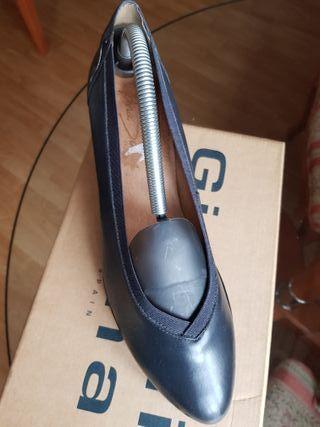 Zapatos mujer 41 piel gris marengo, tacón y goma