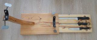 Jamonero completo con cuchillos