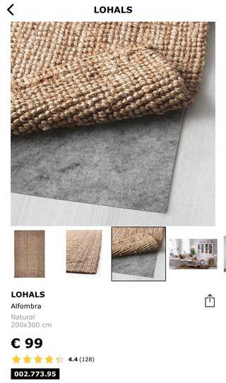 Alfombra de yute LOHALS Ikea 200 x 300cm