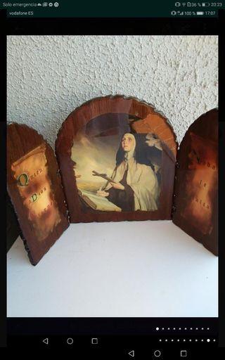 Triptico religioso madera antiguo 1932