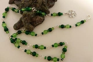Green themed beaded necklace