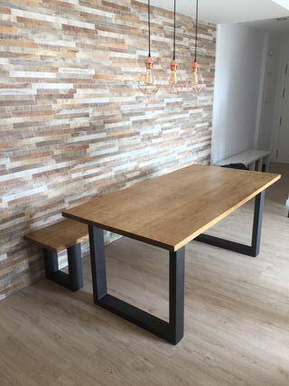 mesa estilo industial acero y madera