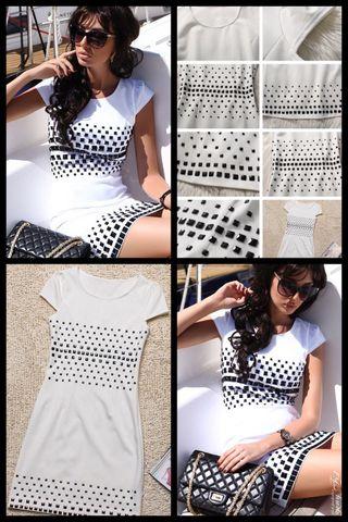 S (34/36) Vestido blanco incrustaciones n negro