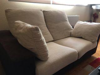 Sofas 3+2 plazas wengue oscuro y beige