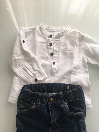 Camisa blanca cuello mao y pantalón vaquero