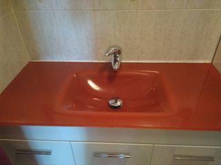 espejo y lavabo naranja 101x46