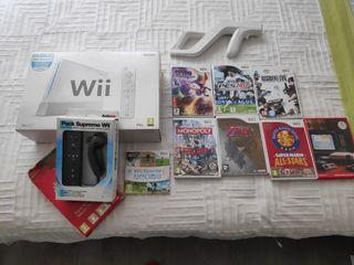 Nintendo Wii + 2 mandos + pistola+ 7 juegos