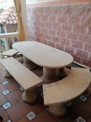Mesa piedra artificial de jardín