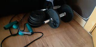 conjunto pesas más discos más cuerda