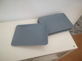 platos rectangulares azul