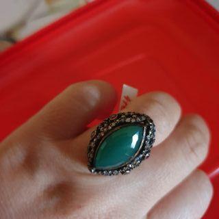 anillo nuevo piedra verde esmeralda plata