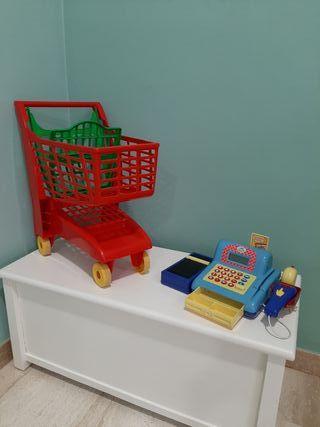 carrito de supermercado y caja registradora