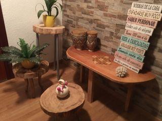 Decoración natural madera mesas