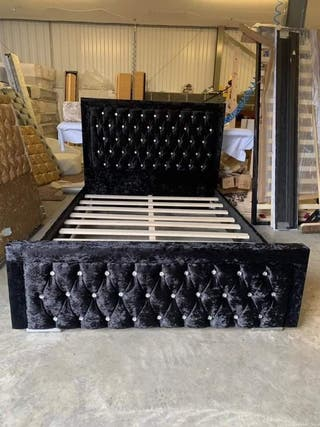 Double crushed velvet bed