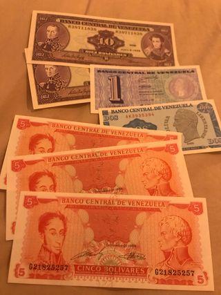 Lote 7 billetes Venezuela