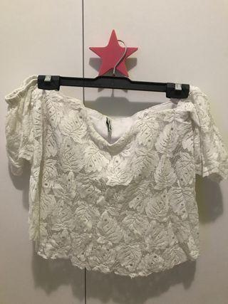 Blusa L blanca encaje