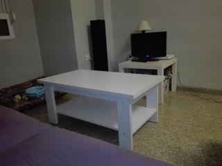 Mesa de centro abatible + mesa auxiliar